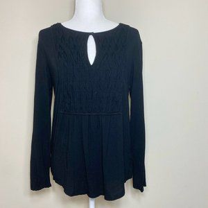 Michael Stars Long Sleeve Keyhole Ruched Top